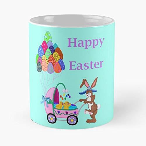 Happy Easter Basket Candy Spring Rabbit Bunny Spring Time Best Taza de café de cerámica de 315 ml, para comer y morder, John Best Taza de café de cerámica de 315 ml