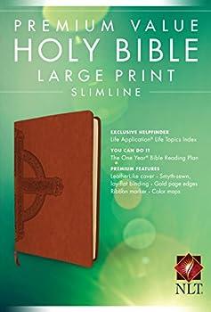 Premium Value Slimline Bible Large Print NLT Cross  LeatherLike Sienna