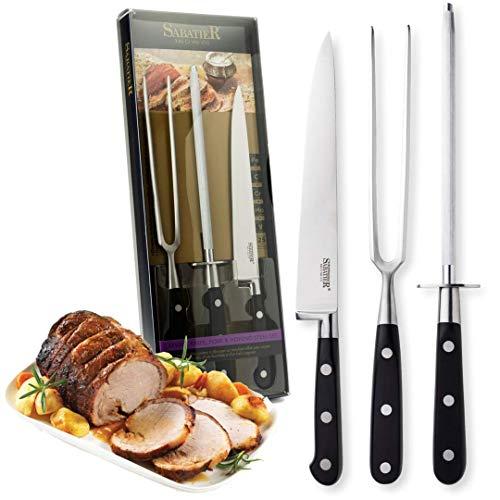 SABATIER Professional Carving Knife Set - 3 Piece Black Carving Knife, Fork...