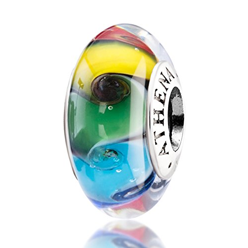 ATHENAIE Murano Glass 925 Silver Core Colored Swirl Rainbow Charms Bead for Bracelet