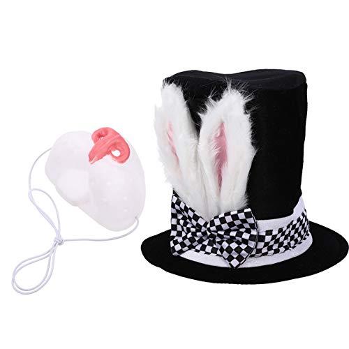 Toddmomy 2 Piezas de Disfraz de Conejo Blanco de Pascua Disfraz de Conejo Blanco Sombrero de Conejo Blanco Accesorios de Vestir para Nios Suministros para Fiestas de Pascua Cosplay