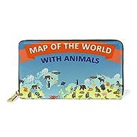 世界地図の海の動物 財布 レディース 用 レザー ジッパー 電話 コイン 長財布 ロング ケース