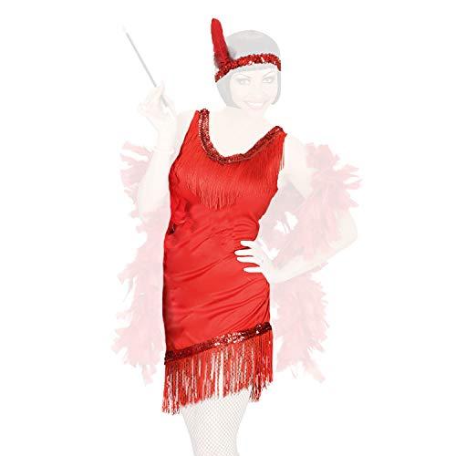 COM-FOUR® retro kostuums jaren 20 dameskostuum en verschillende extensions - Charleston look - vintage flapper omzoomde paillettenjurk, veren boa, parelketting, pruiken (01-delig - Set02 S)