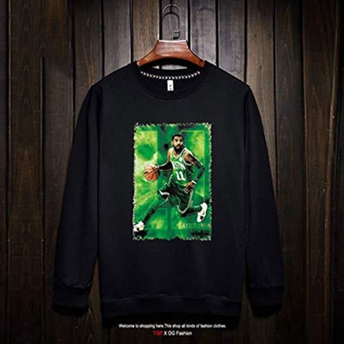 Li Long Camiseta de Manga Larga for Hombre de la NBA Fan de Boston Celtics Camiseta de Baloncesto Kyrie Irving de Moda Deportiva Sudadera de Baloncesto negro-8-M (Color : 19, Size : Small)