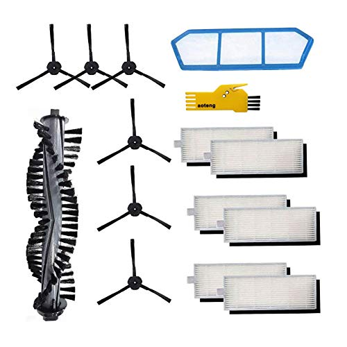 aoteng Replacement Parts for ILIFE A4s Robot Vacuum Cleaner Accessories Kit Pack of Main Brush, Primary Filter, Hepa Filter, Side Brush Attachments Dining Features Kitchen