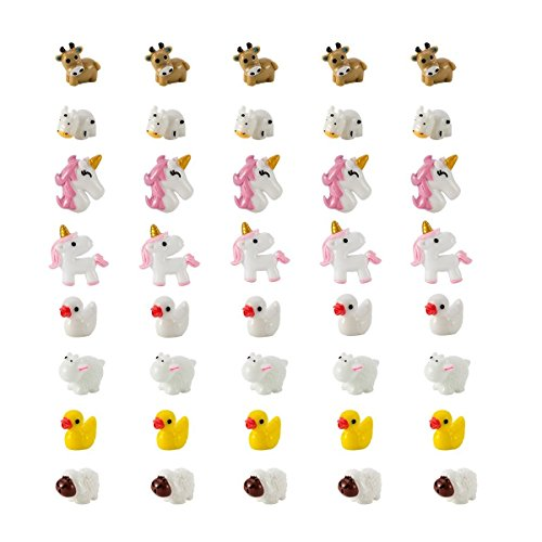 80 Pieces Slime Charms Decoration Resin Toy, Unicorn Owl Mermaid Duck Cow Sheep and Puppy Slime Beads Accessories Supply for DIY Homemade Decor Craft Making (4 Patterns/Each Style 20 PCS) (A)