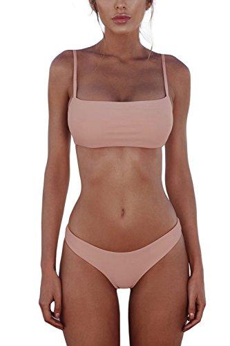 Cassiecy Damen Bikini Set Push Up Bustier Zweiteilig Sommer Sportliches Bademode Strand Bikini(Rosa,M)