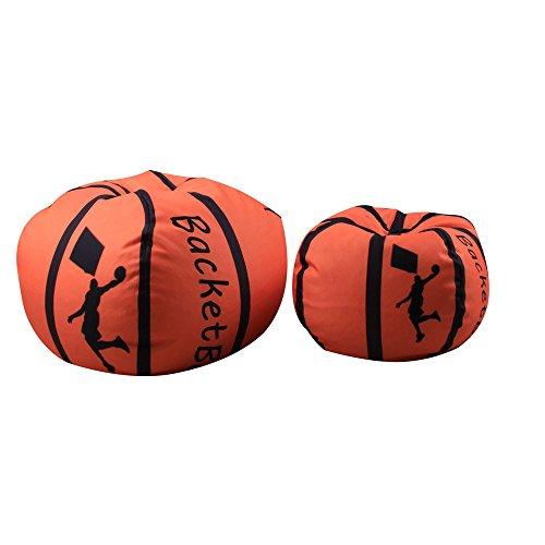 Spielzeug Aufbewahrungstaschen mit Reißverschluss, Sitzsack Kinder Stofftier Kuscheltiere Aufbewahrung Aufbewahrungstasche Soft Pouch Stoff Stuhl Basketball-Stil (B)