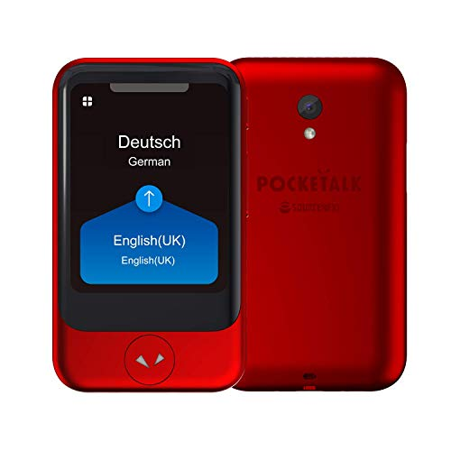 POCKETALK'S' traduttore vocale e video Rosso - dispositivo di traduzione bidirezionale con Sim dati globali integrata, funziona in oltre 130 paesi, supporta 82 lingue