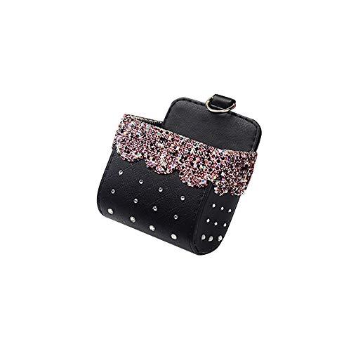 Caja de almacenamiento para coche, organizador de ventilación de cristal con diamantes de imitación, caja de almacenamiento multifuncional, cubo de basura colgante con diamantes de imitación