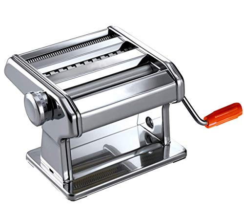 Maquina para Hacer Pasta Fresca Fabricante de Fideos o Tallarines de Acero Inoxidable 3 en 1 Manual con Manivela 9 Velocidades