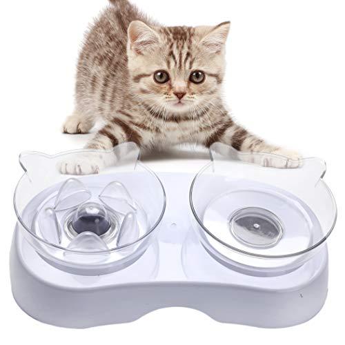 Bangcool Futternapf Katze Set,Fressnapf Für Katzen Erhöhter Futternapf Katzen Fressnapf Doppelt Fressnäpfe Katze Fressnapf Schräg Wasser Fütterung Schüssel Für Katzen Hunde