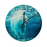 Reloj de Pared ,Oso Polar ártico sumergirse en el a, Relojes de Pared Digitales de Madera Que no Hacen tictac, Funcionan con Pilas, decoración Sala de Estar, Dormitorio, Aula, Oficina (12 Pulgadas).