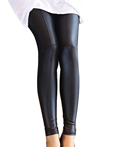 Guiran Mujer Color Sólido Skinny Pantalones Imitacion Cuero Leggings Push Up Leggins
