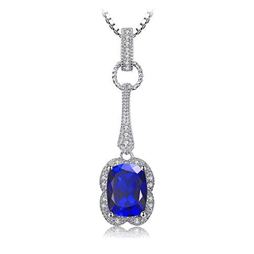 JewelryPalace Elegante Rettangolo 2.9ct Sintetico Blu Zaffiro Pendente Collana 925 Sterling Argento 45cm