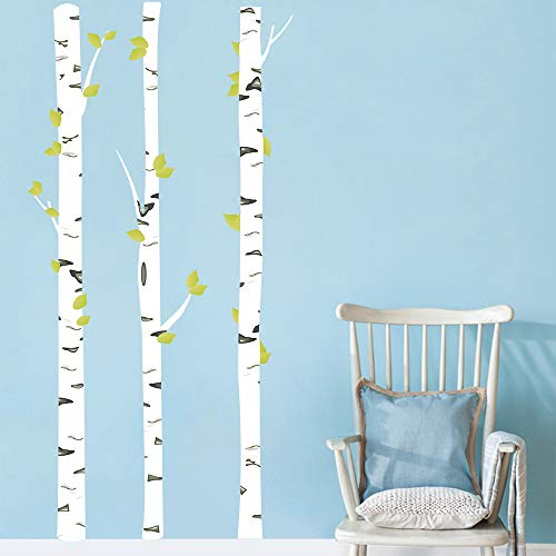 Runtoo Wandtattoo Birken Wandsticker Baum Weiß Wandaufkleber Kinderzimmer Wohnzimmer Schlafzimmer