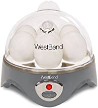 West Bend Automatic Electric Cooker Hard-or Soft-Cook 7 Eggs or 2 Poached or Scrambled, 360-Watts, Gray