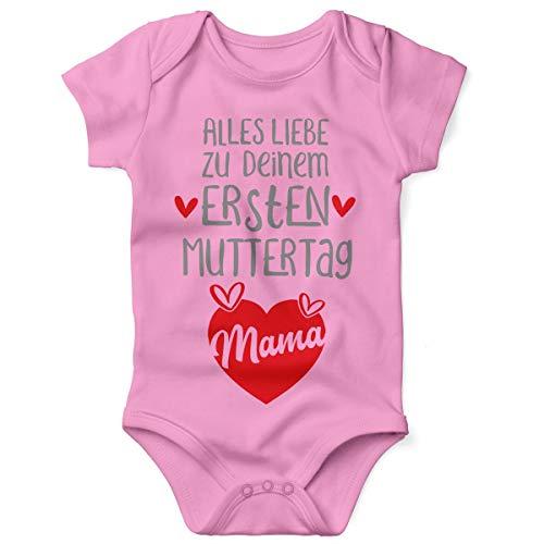 Mikalino Babybody mit Spruch für Jungen Mädchen Unisex Kurzarm Alles Liebe zu deinem ersten Muttertag | handbedruckt in Deutschland, Farbe:rosa, Grösse:68