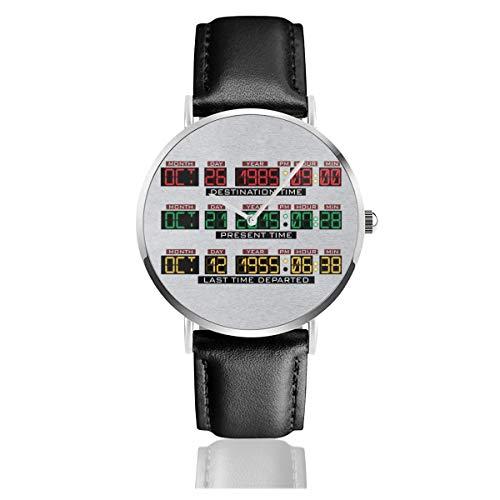 Unisex Business Casual Zurück in die Zukunft Delorean Time Machine Uhren Quarz Leder Uhr mit schwarzem Lederband für Männer Frauen Junge Kollektion Geschenk