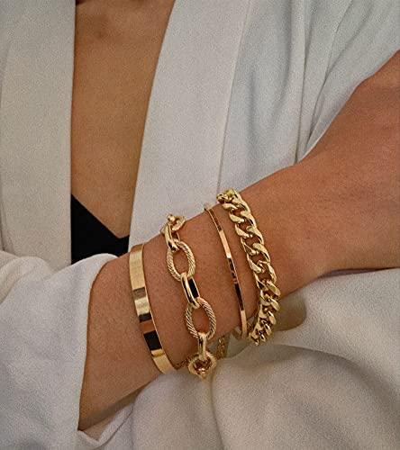 Kercisbeauty 4pcs Women Fashion Cuff Link Bracelet Set Punk Miami Cuban Link Chain Bracelet Girls Party Jewelry (Gold)