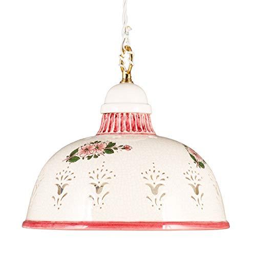 Helios Leuchten 2070711 nostalgische Küchenlampe Keramiklampe weiß - rot | Pendellampe Pendelleuchte aus Keramik | handbemalte Keramikleuchte | Hängelampe 1 x E27