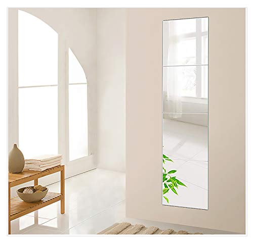 Beauty4U 4-Piece 12 Inch Wall Mirror Full Body Mirror Wall-Mounted Frameless Mirror Hanging Door Mirror Home Workout Gym Mirror for Wall Glass Mirror Tile Self Adhesive