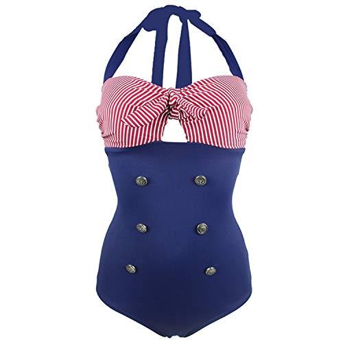 Viloree Vintage Damen 1 Piece Badeanzug Monokini Schlankheits Bauchweg für Mollige Sailor Look M