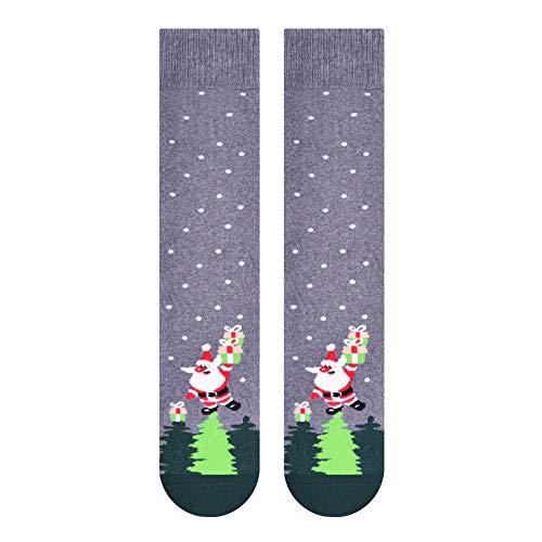 Ateena Weihnachten Fancy Terry Mid-Calf Socken mit Weihnachtsmann & Weihnachtsbäumen, melange grau, Größe UK9-11 / EU44-46