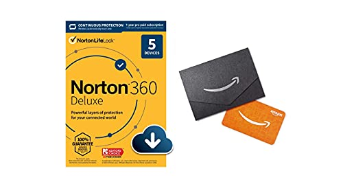 Norton 360 Deluxe for up to 5 Devices + $10 Amazon.com Gift Card - Includes VPN, PC Cloud Backup & Dark Web Monitoring powered by LifeLock [Download, 12 Month with Auto-Renewal]