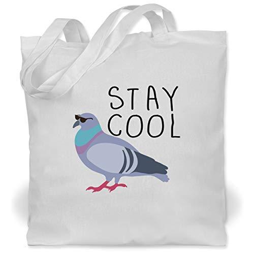 Shirtracer Statement - Stay Cool - Unisize - Weiß - Geschenk - WM101 - Stoffbeutel aus Baumwolle Jutebeutel lange Henkel