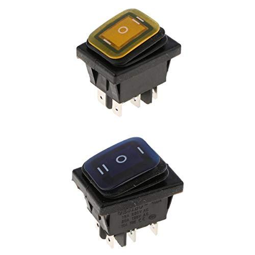 Gazechimp 2 x KCD4 On Off On 6 Pin 220 V LED Marine interruptor basculante resistente al agua, amarillo + azul