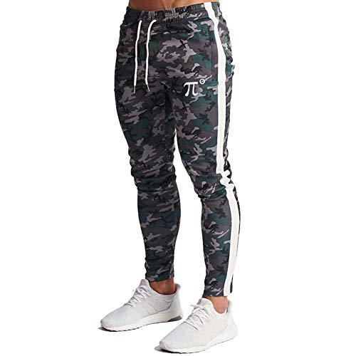 Wangdo Men's Zipper Pockets Camouflage Joggers Sweatpants for Casual Gym Workout Slim Sport Drawstring Long Pants (Green Camouflage,XL)