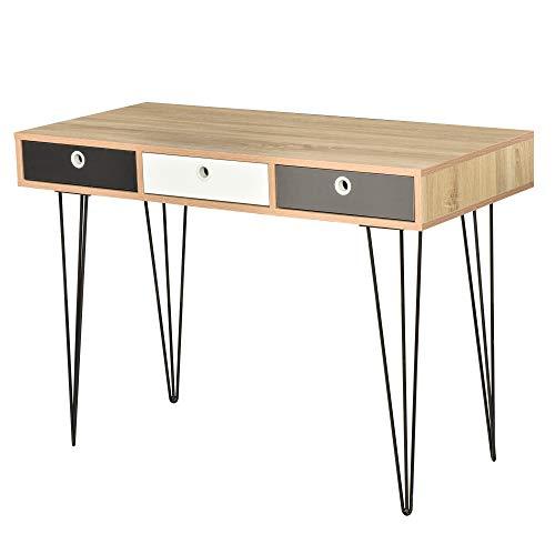 HOMCOM Table d'appoint Console Design scandinave 3 tiroirs...