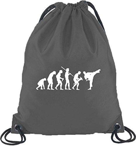 Shirtstreet24, EVOLUTION JUDO, Kampfsport Karate Turnbeutel Rucksack Sport Beutel, Größe: onesize,Dunkelgrau