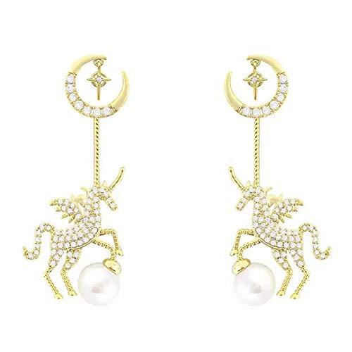 KARROY S925 Silver Needle, aretes de perlas de unicornio personalizados, aretes de microconjunto de circón, simples y versátiles, adecuados para todas las ocasiones.