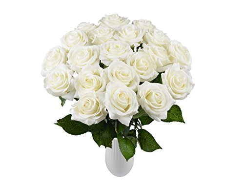 Yidarton Rosen 10 Stück Real Touch Schöne Echtes Moisturizing Curling Knospe Latex künstliche Rose Kunstblumen Blume Dekoration Blumenstrauß Blumenarrangement (Weiß)
