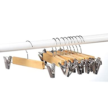 Home-it (10 PACK) skirt hangers with clips wood hangers clothes hangers