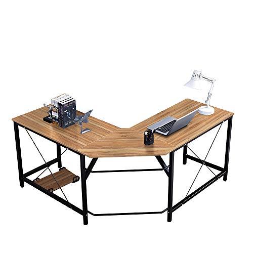 DlandHome L Escritorio de la computadora Gaming Mesa 150cm + 150cm, Ordenador Portátil para PC Estación de Trabajo de Estudio Mesa de Esquina con CPU Stand, Roble & Negro ⭐