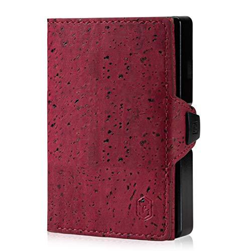 Cartera pequeña ZNAP para hombre – Monedero para hombre – Tarjetero de aluminio con compartimento para monedas y protección RFID – rojo vino – hasta 12 tarjetas – Mini Wallet de Slimpuro