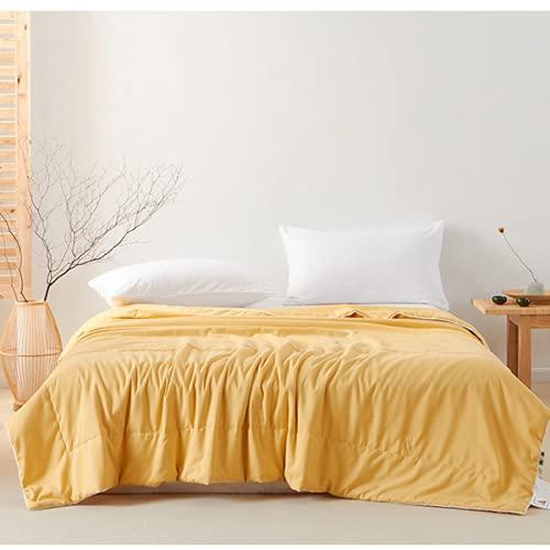 CHENXTT Bedsure Edredón Estilo Japonés Pequeño Encaje Color Sólido Clase A Edredón De Aire Acondicionado De Fibra De Soja Edredón Fresco De Verano Liso Amarillo 200*230cm