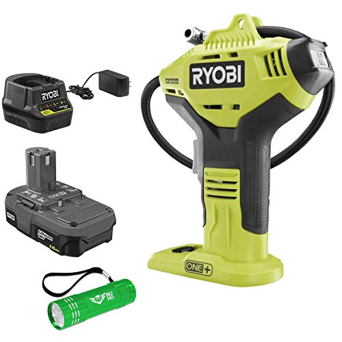 Ryobi P737D 18-Volt One+ Tire Inflator Bundle with Battery, Charger and Buho Flashlight