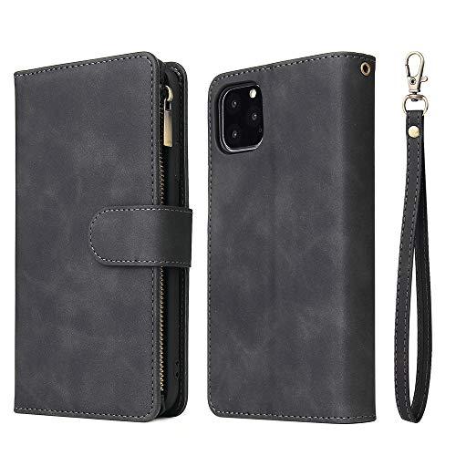 ERUMID Funda tipo cartera para iPhone 11, ranuras para tarjetas y dinero, cierre magnético, correa de mano para iPhone 11, color negro