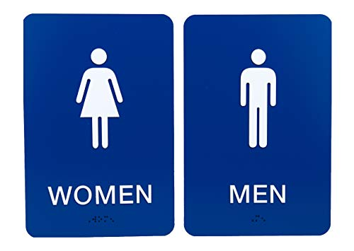 Non-Accessible/Wheelchair Men & Women ADA Restroom (Bathroom) Sign Set w/Braille - Blue