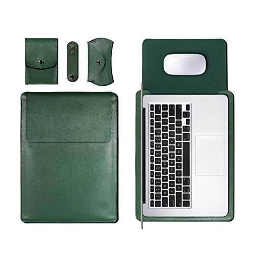 XXY PU Leather Sleeve Bag Case for Macbook Air Pro 11 12 13 15 16 Cover A1466 Liner Sleeve for Macbook Air 13.3 Case (Color : Green, Size : 11 12 inch)