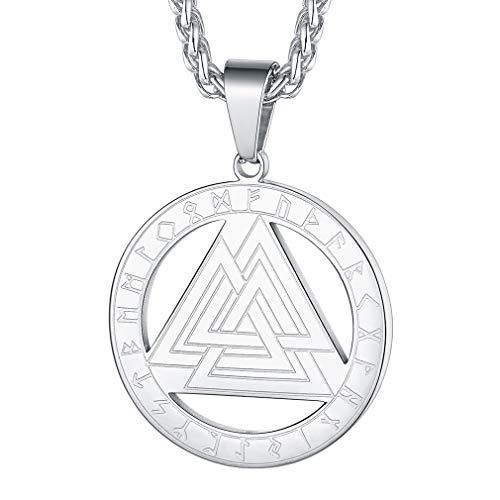 FaithHeart Runas Valknut Trinidad Collar Redondo Metálico Amuleto de Protección Colgante Nórdico Mitología