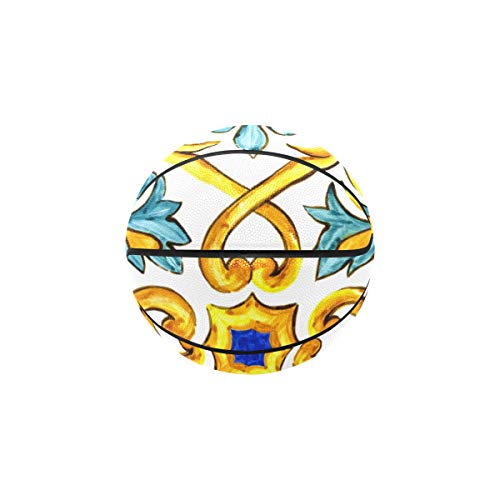 Best Buy! BasketballAdultOutdoor Ornament On Italian Tiles Majolica Cyan WomensIndoorOutdoor...