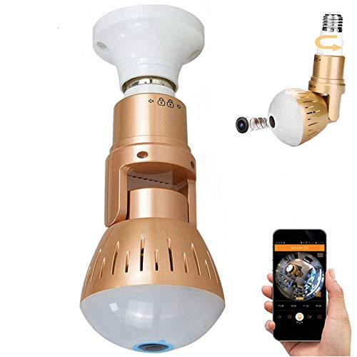 Smart Bulb Camera WiFi LED 1080p Cameras 360 Degree Panoramic Fish Eye...