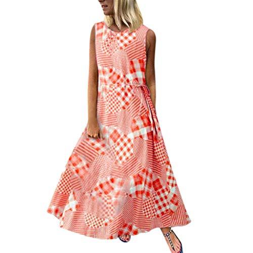 Lange Sommerkleider für Damen, Vintage-Plaid, Maxikleid, Bohemian-Träger, Übergröße, ärmellos - Rot - Groß