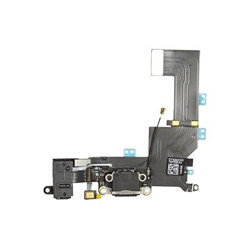 OnlyTech - oplaadbus dock-aansluiting met flex-antenne, microfoon, hoofdtelefoonaansluiting en oplaadaansluiting compatibel met iPhone SE zwart