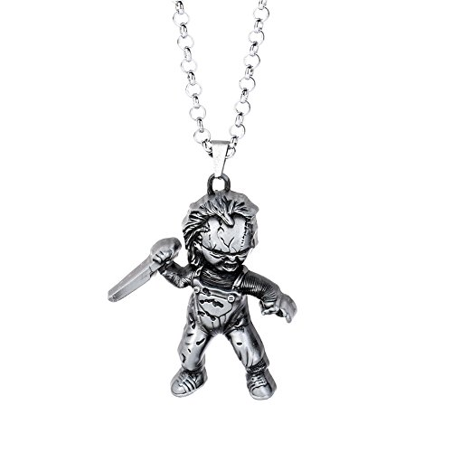 lureme Child's Play Curse of Chucky Necklace Vintage Metal Doll Pendant Necklace-Anti Silver (nl005848-1)